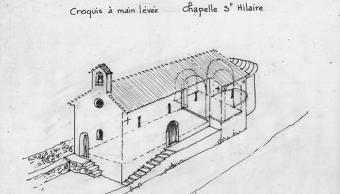 Croquis à main levée de la Chapelle Sainte-Hilaire